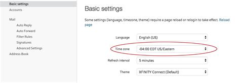 xfinity menu connect email zone settings then