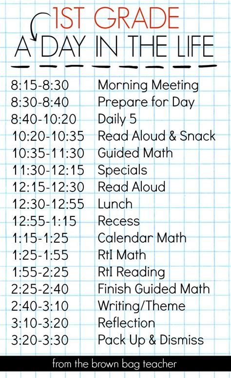 st grade schedule  day   life  brown bag