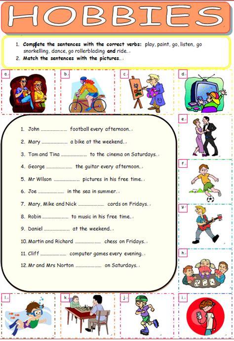 all worksheets 187 hobbies worksheets printable worksheets