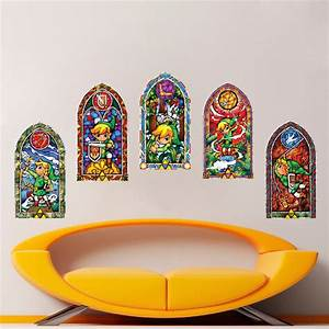 all 5 zelda stained glass wall decal sticker video games With awesome zelda wall decals ideas