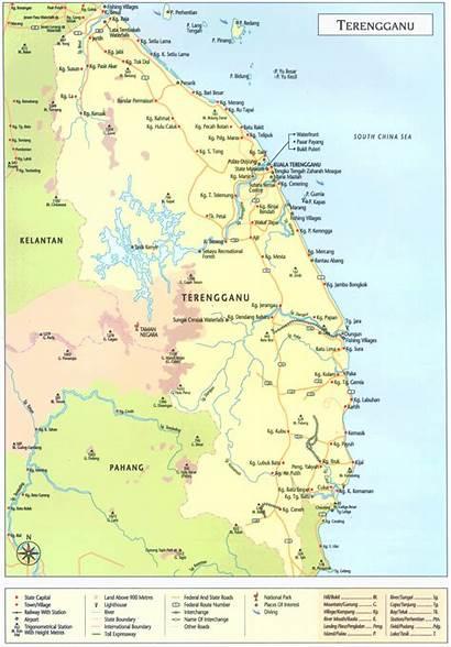 Terengganu Map Malaysia State Kuala Maps Geography