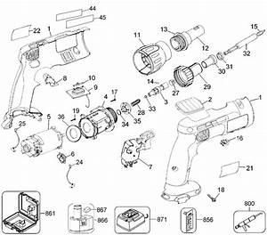 Dewalt Dc520 Cordless Screw Gun Parts  Type 1  Parts
