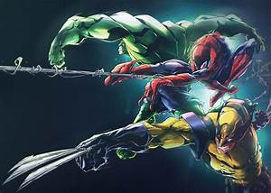 Hulk Spider Man Wolverine Marvel Comics Wallpaper And