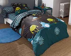 Parure De Lit Fille 90x190 : linge de lit enfants monstres becquet ~ Teatrodelosmanantiales.com Idées de Décoration