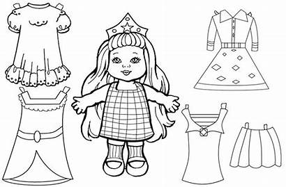 Doll Paper Coloring Printable Pages Dolls Colouring