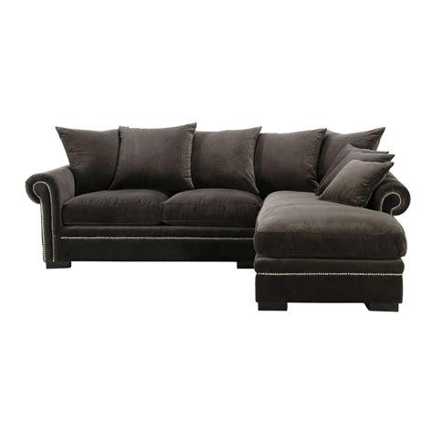 canapé d angle en velours canapé d 39 angle 5 places en velours gris plazza maisons