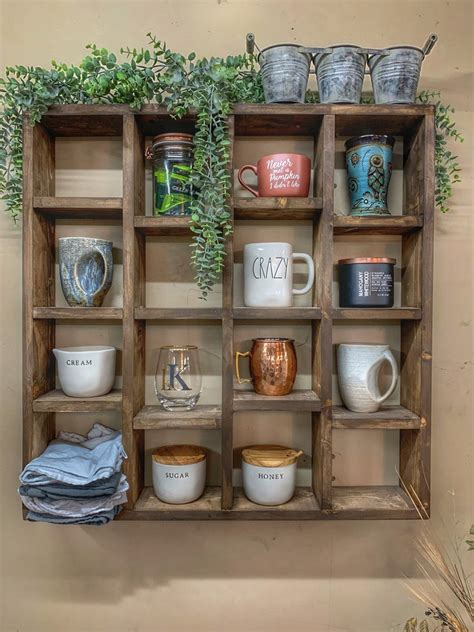 Made of hand crafted acrylic, this coffee pod organizer the mind reader coffee pod holder / dispenser has the capability to be hung on the wall or free standing on top of your kitchen countertop or breakroom. Custom Coffee Mug Holder Wall Shelf Walnut (2020)
