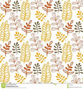 Hand-drawn Leaves Background In Autumn Colors. Seasonal ...