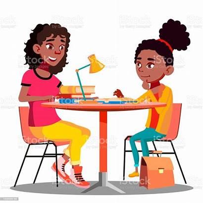 Homework Child American Vector Illustration Mother Afro