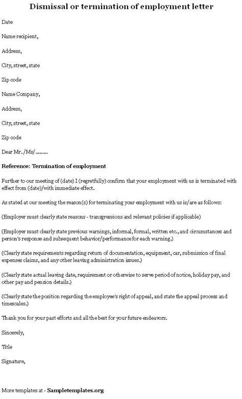 employment template termination format  termination
