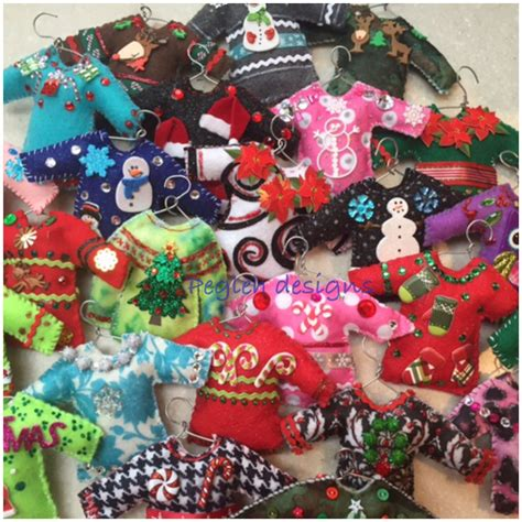 felt ugly christmas sweater ornaments  projects