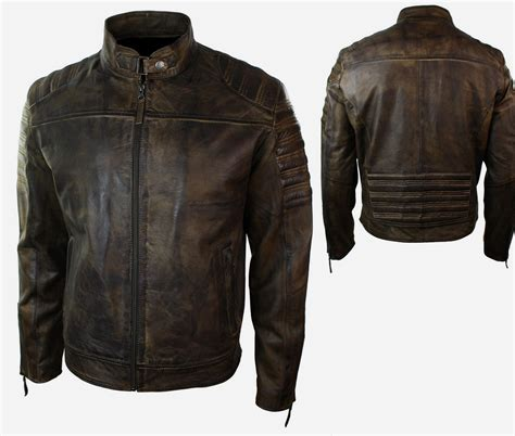 real leather motorcycle jackets biker mens retro vintage biker motorcycle jacket