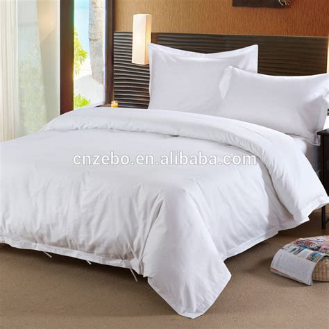 White Hotel Bed Linen Set Custom Embroidery Cotton Hotel