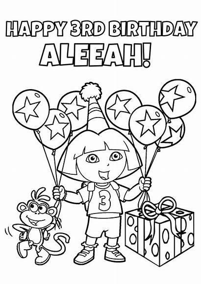 Coloring Birthday Pages Dora Party Explorer Games