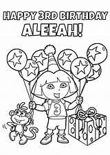 Coloring Birthday Dora Pages Party Explorer Games Printable Game Queen Theme Printables Happy Colouring Sheet Drawing Sheets 3rd Personalized Supplies sketch template