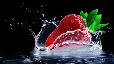 strawberry water splash wallpapers hd wallpapers id