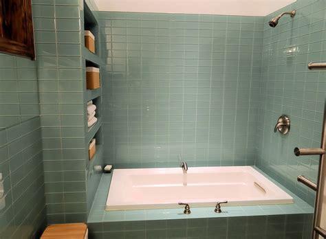 Green Bathroom Backsplash by Large Subway Tile Bathroom Studio Design Gallery