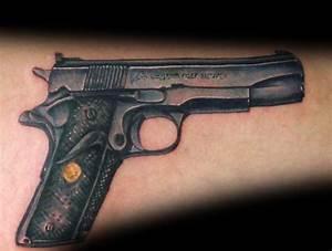 50 1911 Tattoo Ideas For Men - Handgun Designs