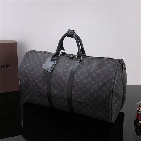 replica men lv louis vuitton  keepall  handbag monogram travelling bag gray lv
