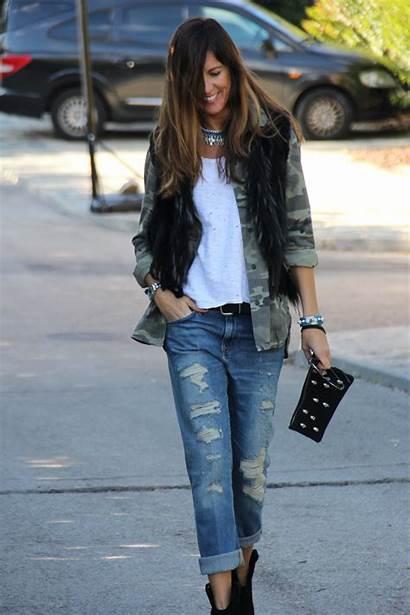 Boyfriend Pantalones Jeans Avec Veste Une Chemise