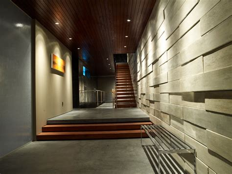 Houzz Living Room Sofas by Modern Hallway With Floating Open Staircase Modern