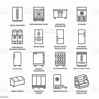 Types Freezer Fridge Refrigerators Line Icons Commercial