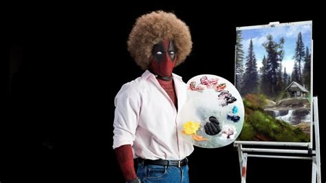 Bob Ross, Deadpool, Afro, Painting, Humor, Movies, Marvel