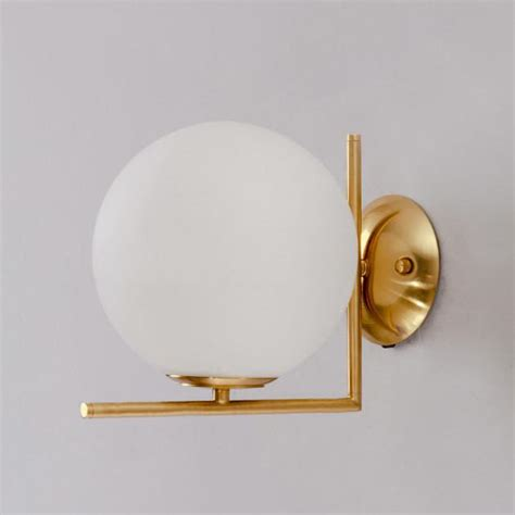 trendl frosted dome brushed brass l wall light ceiling