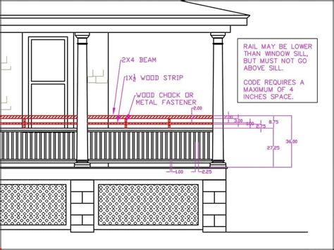 porch railing height building code  curb appeal