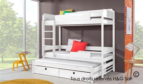 lits superposes 3 places lit enfant superpos 3 couchages en bois massif avec rangements