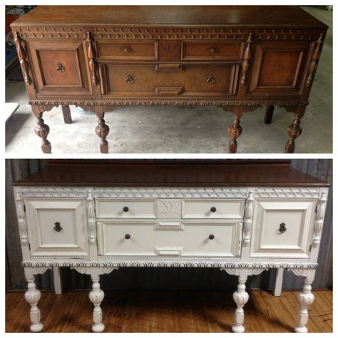 Painted Antique Sideboard by Painted Antique Buffet Before And After Webster S Chalk