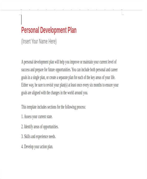 personal business plan template   word  format