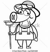 Farmer Pig Rake Coloring Cartoon sketch template