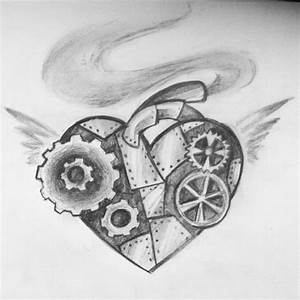Rough sketch of a steampunk heart i did today :)...