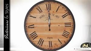 Horloge 80 Cm : grande horloge ronde en bois de sapin de style r tro 80 cm int rieurs styles ~ Teatrodelosmanantiales.com Idées de Décoration