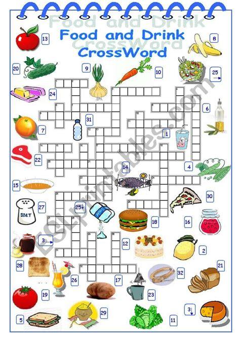 food and drink crossword esl worksheet by alyona c