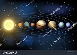 Solar System Illustration Planets Orbit Around Stock Vector 232087309