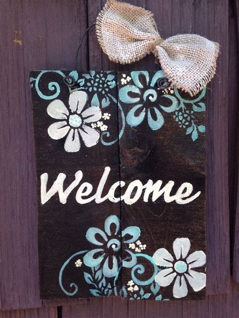 Welcome Plaque Sign Pallet Primitive Rustic Country Diy