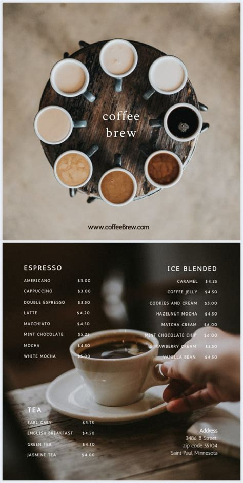 modern coffee shop menu template flipsnack