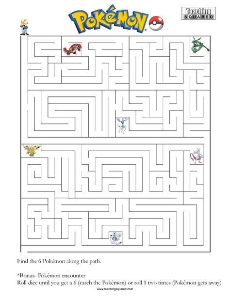 maze a teaching squared maze pok 233 mon and worksheets
