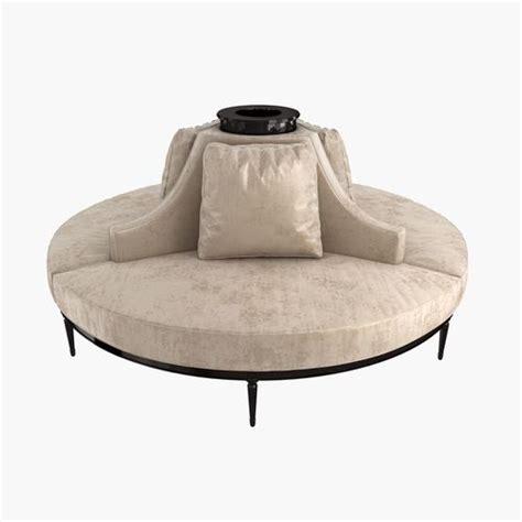 circular settee custom made center settee banquette 3d model