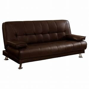 Venice 3 seater sofa bed faux leather w chrome legs for Leather sofa bed