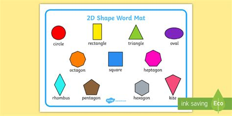 Free 2d Shape Names Word Mat Primary Resources
