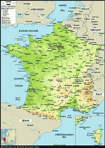 Physical Map Of France  France Atlas