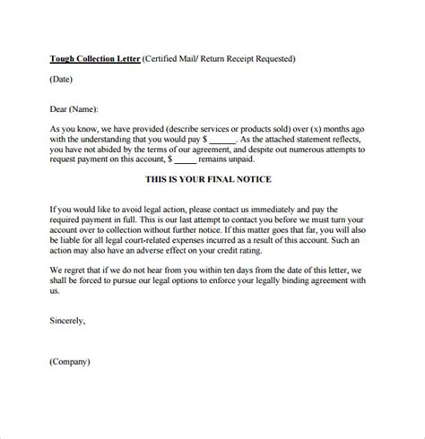 collection letter template collection letter templates free cover letter sles 11219