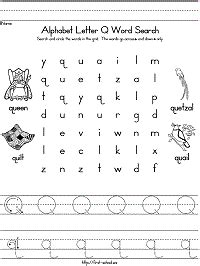 words with letter q letter q word search for preschool kindergarten and early 25758 | q