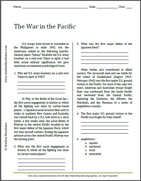 the war in the pacific reading worksheet free to print