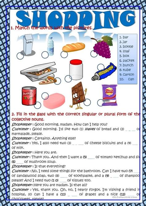 shopping vocabulary  context english lessons