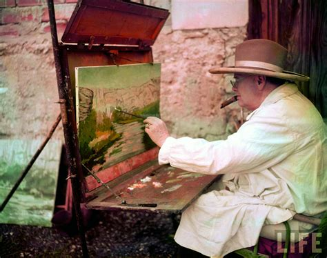 daily lazy colour photographs  winston churchill painting france