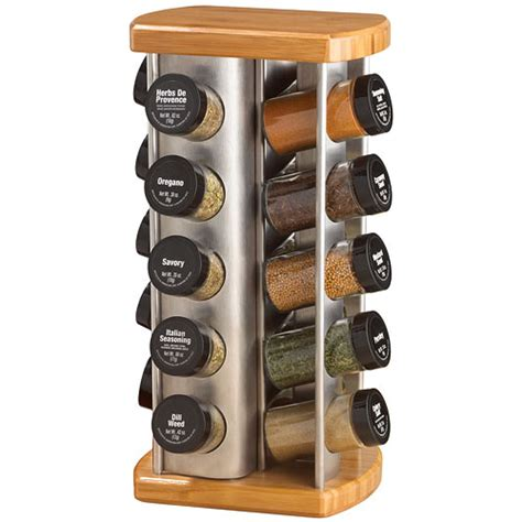 20 Jar Rotating Spice Rack by 20 Jar Revolving Spice Rack Bamboo And Stainless In